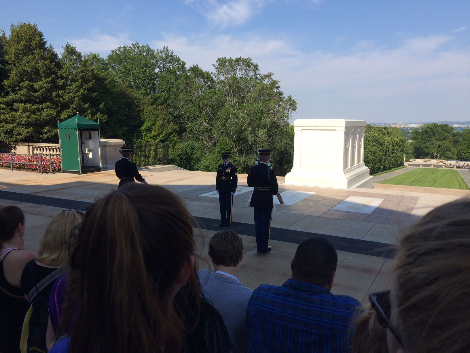The changing of the guards at the Tomb of the Unknown Soldiers.