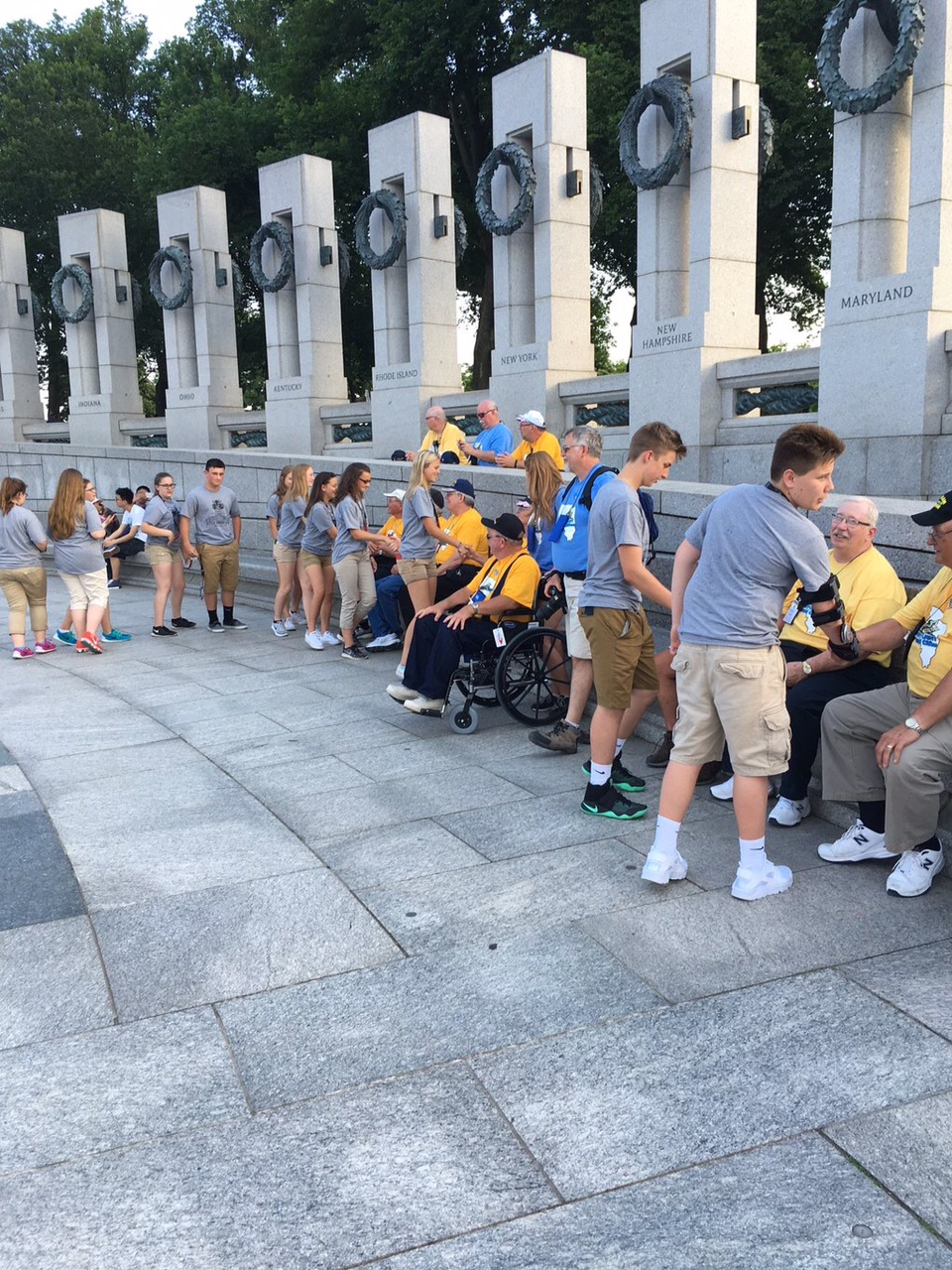 Our students were shaking hands and thanking veterans for their service at the WWII Memorial.