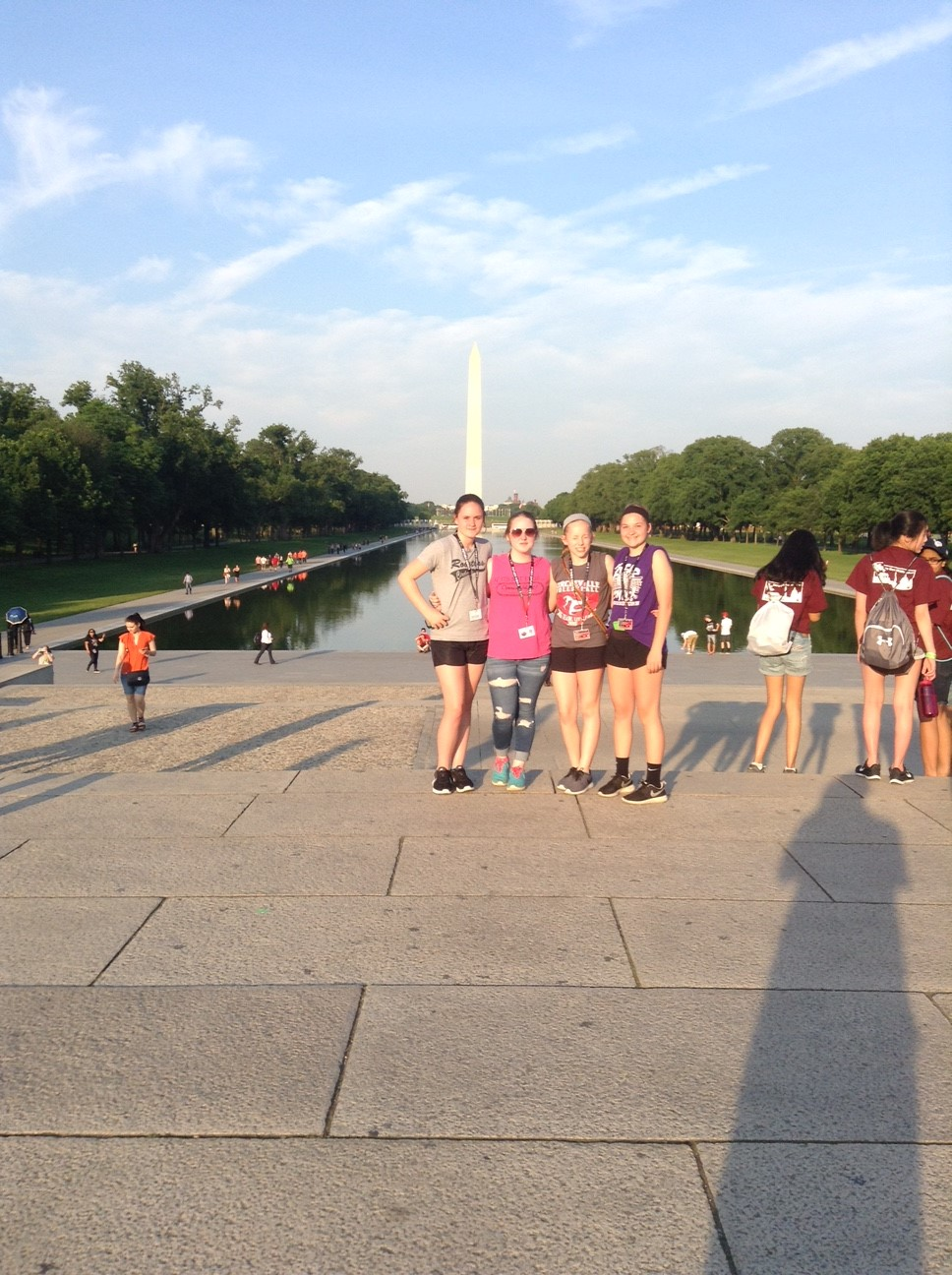 Santana Fowler, Alyssa Smith, Shelby Matthews, and Kayla Sark in front of the Washington Monument.