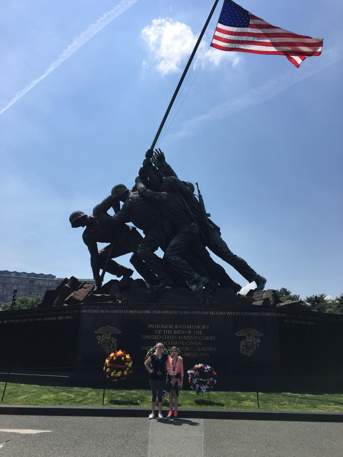 Briaunna Smith and Aubree Cunningham in front of the Iwo Jima Memorial.